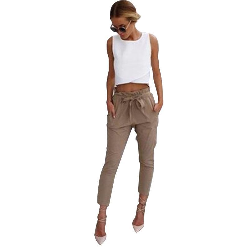 Compre Las Mujeres OL De La Gasa De Cintura Alta Pantalones Harem Corbata  De Lazo Dulce Elástico Bolsillos De La Cintura Pantalones Casuales  Pantalones ... 8fb28c5808fb