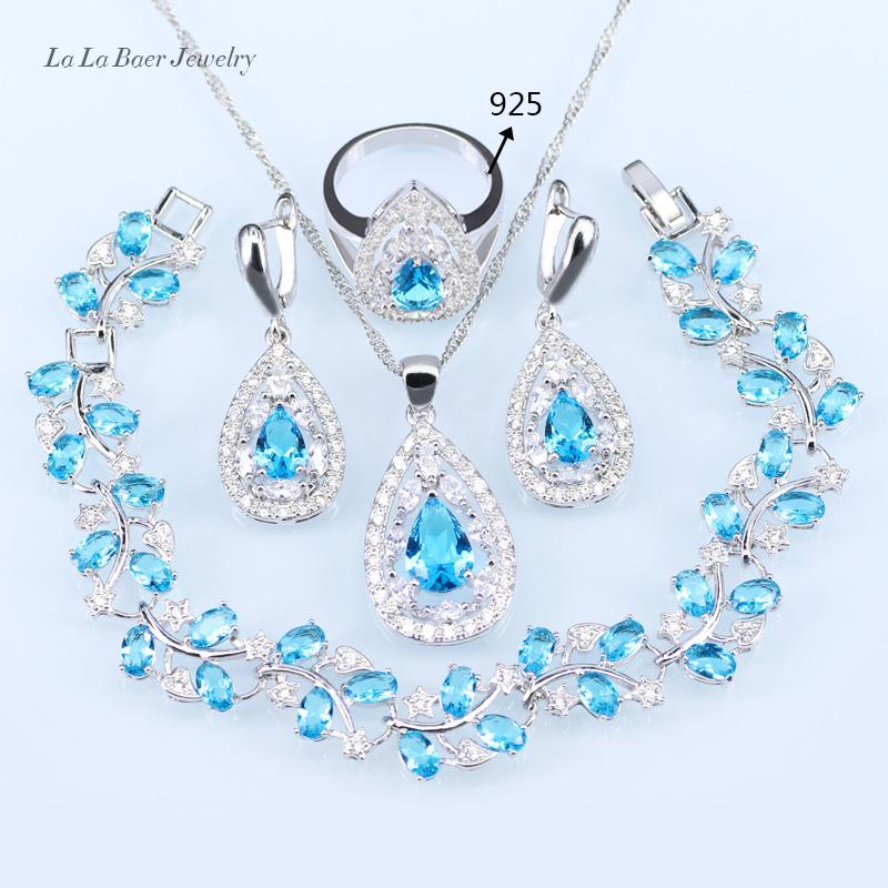 LB Wedding Bridal Jewelry Sets Sky Blue Opal White Zircon Silver