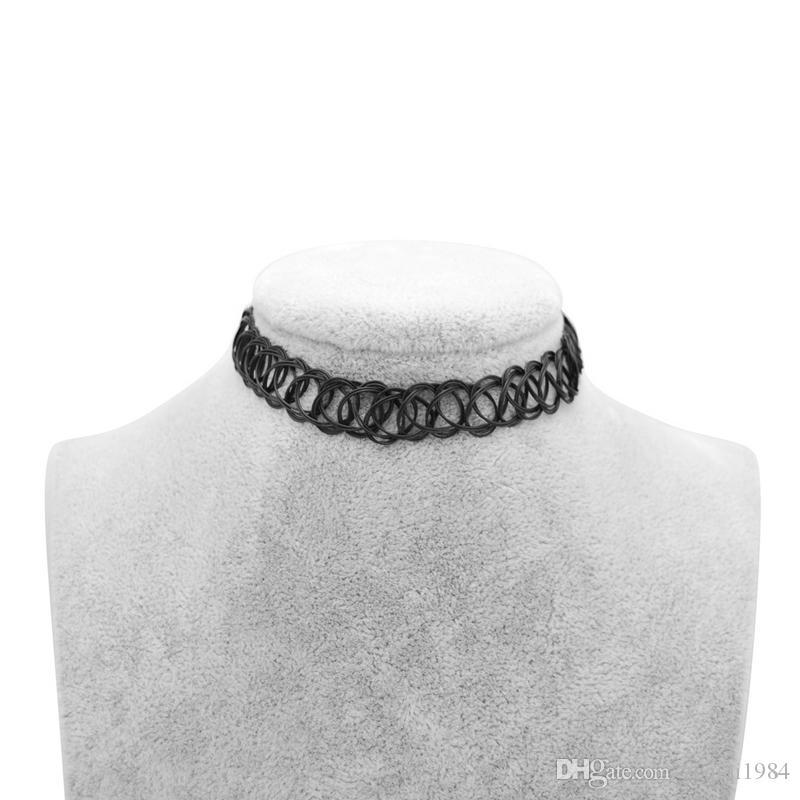 Tatuagem Gargantilha Colar Mulheres estiramento Vintage Tattoo Choker colares para as mulheres menina encanto gótico Colar Elastic presente de casamento Feminino