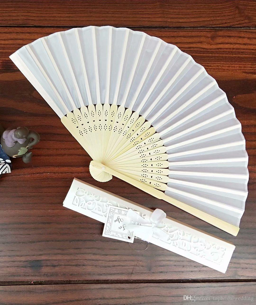 White Silk Wedding Fan With Gift Box,Folding Hand Fan Wedding Favor ...