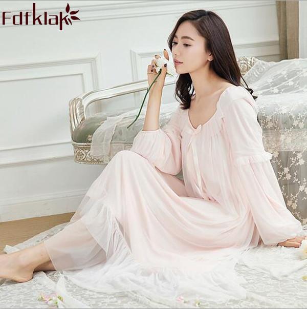 4359887294478 Acheter Chemise De Nuit Longue En Coton Pour Femmes Printemps Automne  Manches Longues Robe Sexy Lingerie Blanc / Rose Femme Vêtements De Nuit  Q253 De $55.55 ...