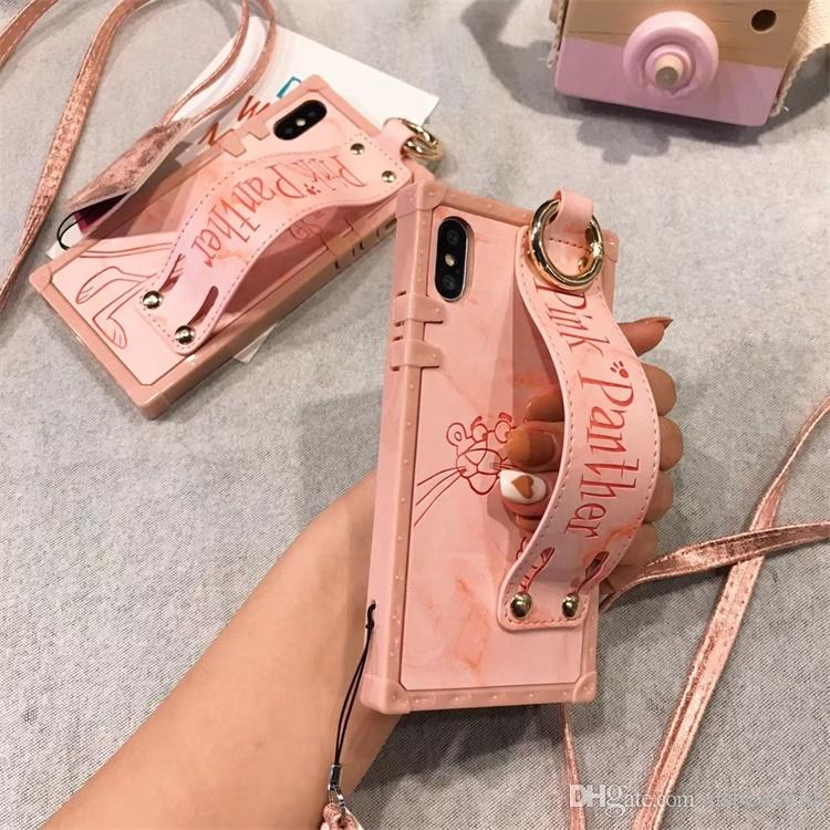2018 New Lovely Pink Panther Phone Case For Iphone X With Wristband Wrist Strap Shell For Iphone 8 7 6