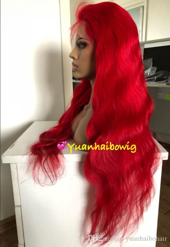 Celebrity 8a grade red color body wave brazilian remy hair 100 human hair full lace wig