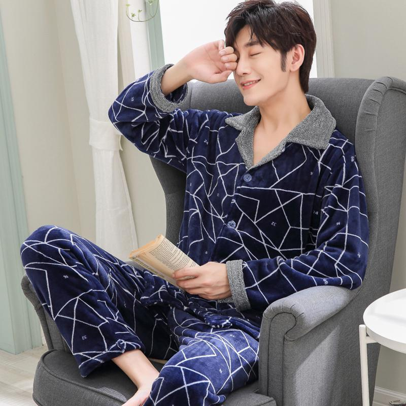 8238f4767157 2018 New Winter Autumn Thick Coral Fleece Men Warm Pajamas Sets Of ...