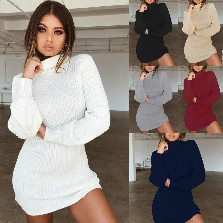 2f1f74ce36 Sexy Long Sleeve Knit Bodycon Dress For Women Long Sleeve High Collar  Dresses 2018 Autumn Tight Dress Fashion Casual Party Nightclub Dresses Cute  Party ...