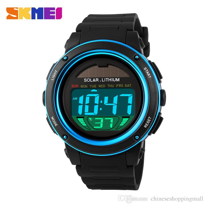 SKMEI Solar Powered reloj digital Men Women reloj deportivo 3ATM Water-resistant reloj de pulsera unisex con cronógrafo Backlight