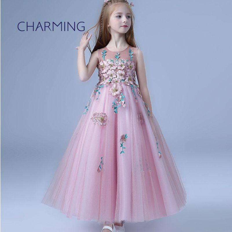 781b662c2bb3 Girls Maxi Dress Princess Skirt Girl Dress Suitable For Piano Performance  Show Skirt Round Neck Style Pretty Dresses For Little Girls Girls Taffeta  Flower ...