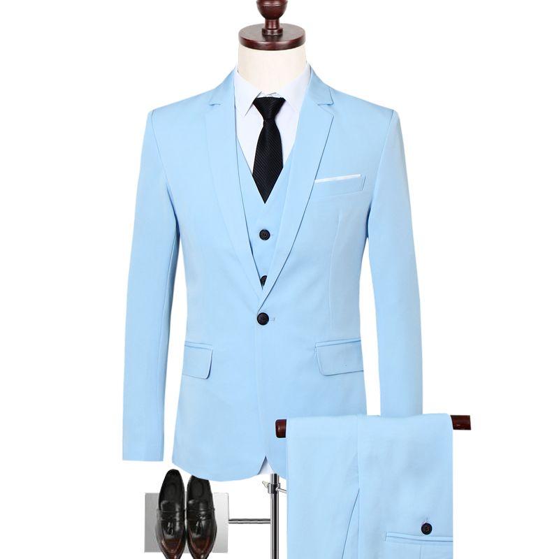 7e121333da8 2019 Men Suits Groom Wedding Dress Stylish Solid Color Slim Business Dress  High Quality Suits Suit Suit+Pants+Vest S 6XL From Donahua