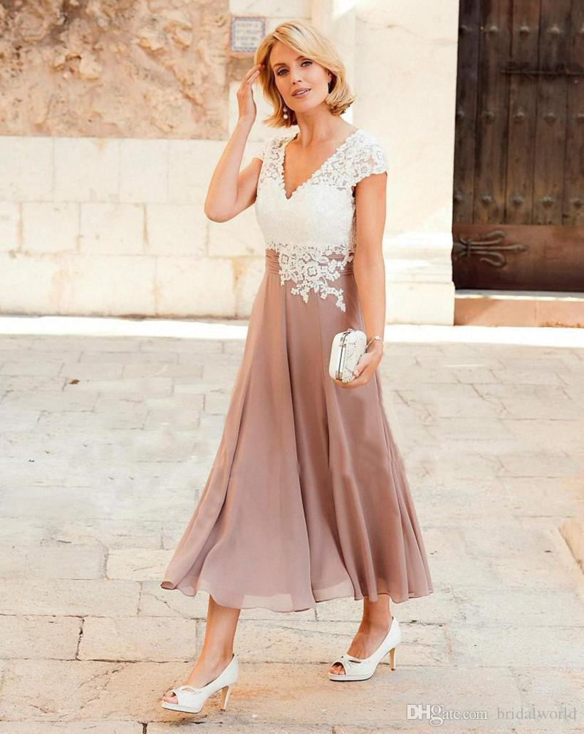 0528a9bc4cad New Style Lady Of The Bridesmaid Dress Deep V Neck Chiffon Ankle Length Wedding  Guest Dress Short Sleeves Top Lace Groom Party Gowns Wedding Dresses Short  ...