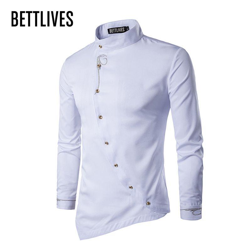 d3aec238a9 Compre Marca Designer Homens Camisas Fivela Irregular High End Masculino  Camisa De Vestido Social Casual Manga Comprida Chemise Homme Camisas B3680  De ...