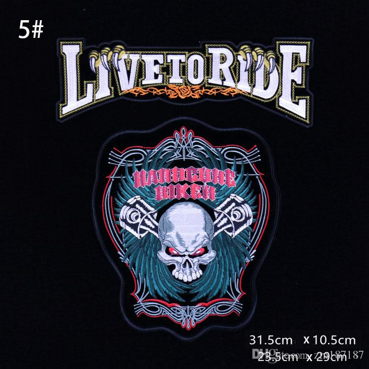 Personality Fashion Letter Locomotive Skulls Motorcycle Club Riders Vest Embroidery Patches Eagle Tassels Embroidery Patches Patch Punk Loco