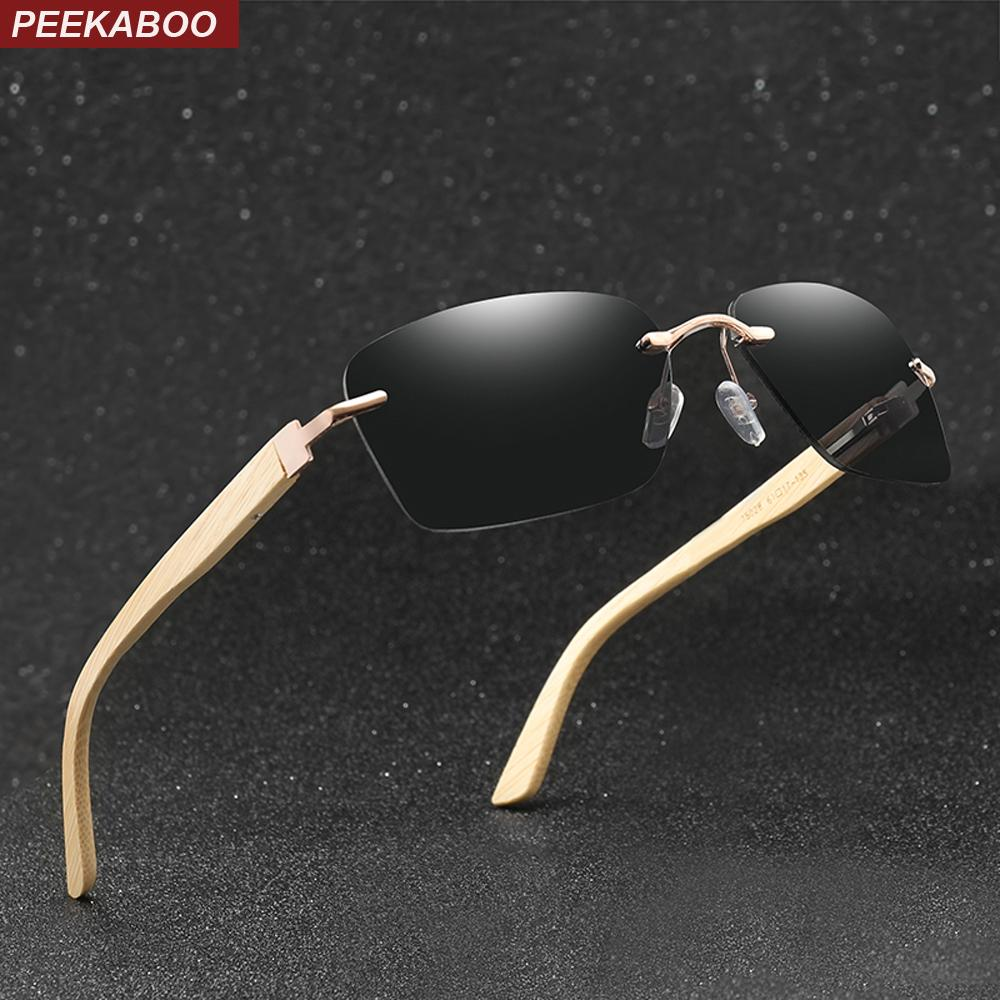 35ff96e4cb42 Peekaboo Retro Bamboo Sunglasses Men Square Frame Rimless Sun ...