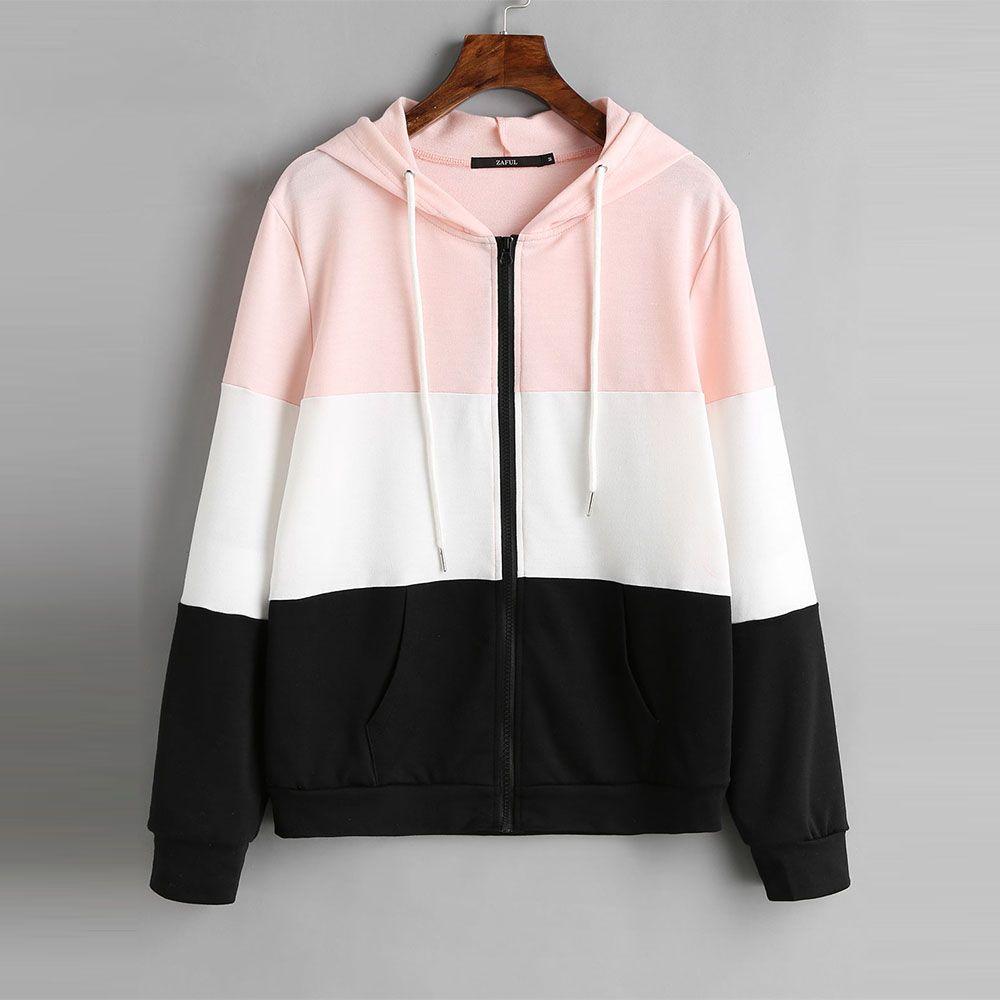 2018 Chaqueta Color Block Patchwork Up Hoodie Drawstring Zip Compre YPAwqFA