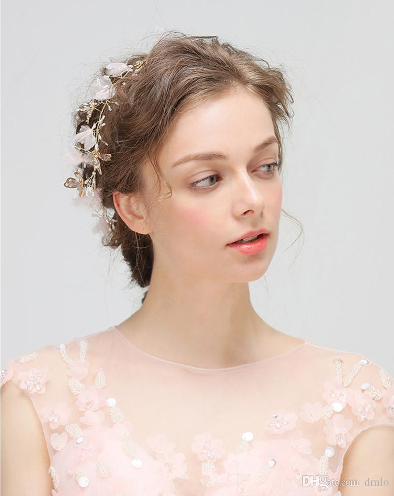 Wedding Hair Band Hairband Flowers Headdress Gold Bridal Headband Pure Handmade Party Wedding Hair Accessories Butterfly Bridal Headpiece
