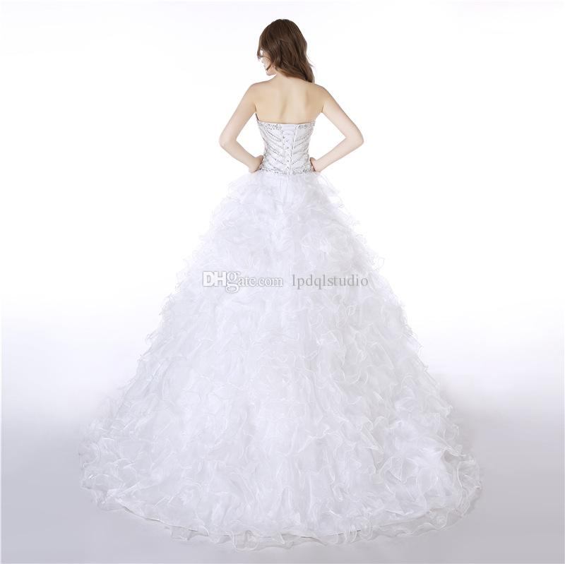 Layers Organza Ball Gown Wedding Dresses Major Beading and Sequins Top Lace-up Back Bridal Gowns Plus Size Wedding Dresses