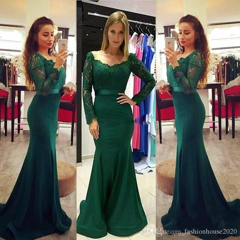 2018 Dark Green Mermaid Plus Size Mother Off The Bride Dresses Scoop Neck Lace Sash Long Sleeves Sweep Train Evening Wear Prom Party Gown