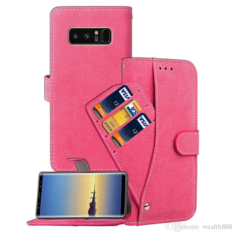 df7e33fe1cf6 Vintage Retro Frosted Leather Photo Frame Card Money Wallet Case For Galaxy  Note 8 Flip Stand Shockproof Cover For Samsung Galaxy S8 Plus