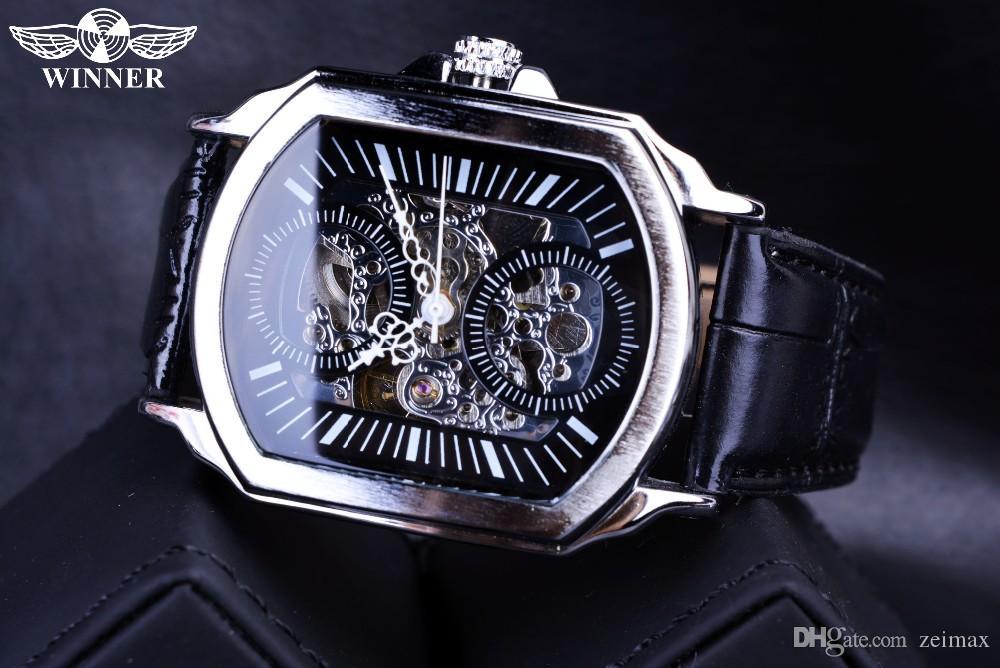 2018 Vincitore Retro Classic Designer Argento cassa in acciaio da uomo Orologi superiore di marca meccanico automatico della vigilanza dell'orologio uomini libera S
