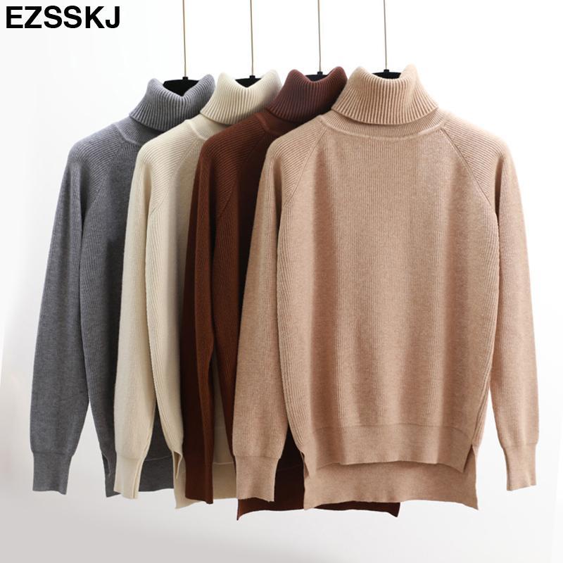 b634eb39a760 Hohe Qualität Rollkragenpullover Frauen Winter dicken Pullover Solide  Gestrickte Pullover Tops für Frauen Herbst Weibliche übergroße Pullover ...