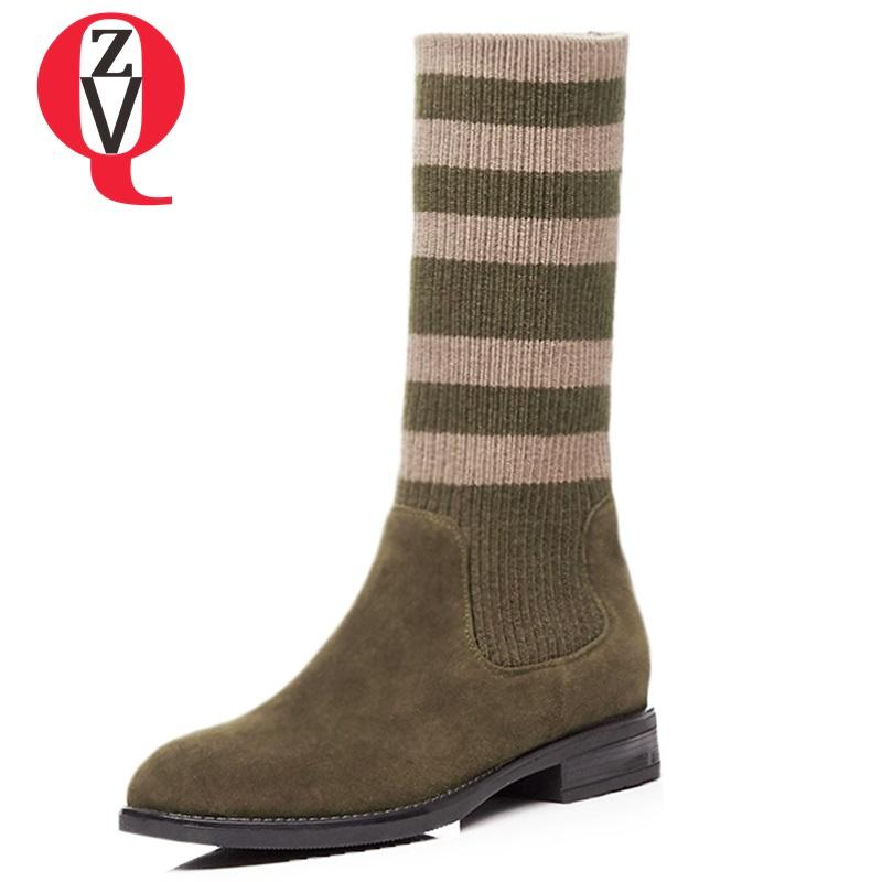 0a9d0ff5109fb ZVQ Botas Mujer Newest Hot Sale Genuine Leather Square Toe High Strange  Style Slip On Winter Warm Concise Casual Mid Calf Boots Suede Boots Men  Boots From ...
