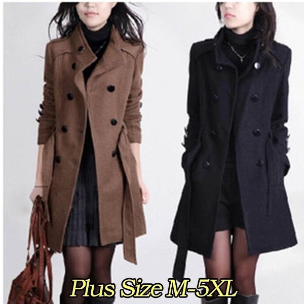 Frauen neue Art und Weisefrühlings Winter Herbst Mantel lange dünne Oberbekleidung beiläufige Wollmantel Frauen Jacken neue Ankunfts Taschen