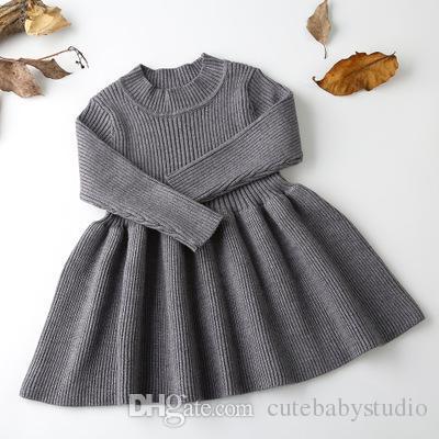 chaussures de séparation 832f0 4864a 2018 Automne Hiver Filles Laine Pull Tricoté Bébé Fille Robe Filles Robes  Pour La Fête Et De Mariage Bébé Fille Vêtements