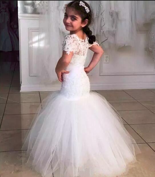Elegante Blumenmädchen Kleid Bateau Kurzarm Appliqeus Spitze Meerjungfrau Bodenlangen Kinder Blumenmädchen Kleider für Hochzeiten