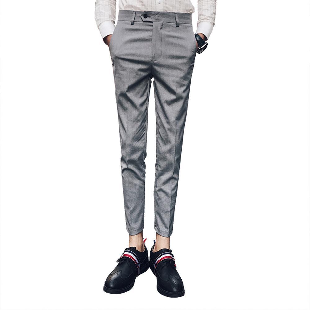 Acheter British Retro Style Hommes Costumes Pantalons De Mode Business  Formelle Bureau Costume Pantalon Homme Slim Fit Gris Et Noir Pantalon  Classique De