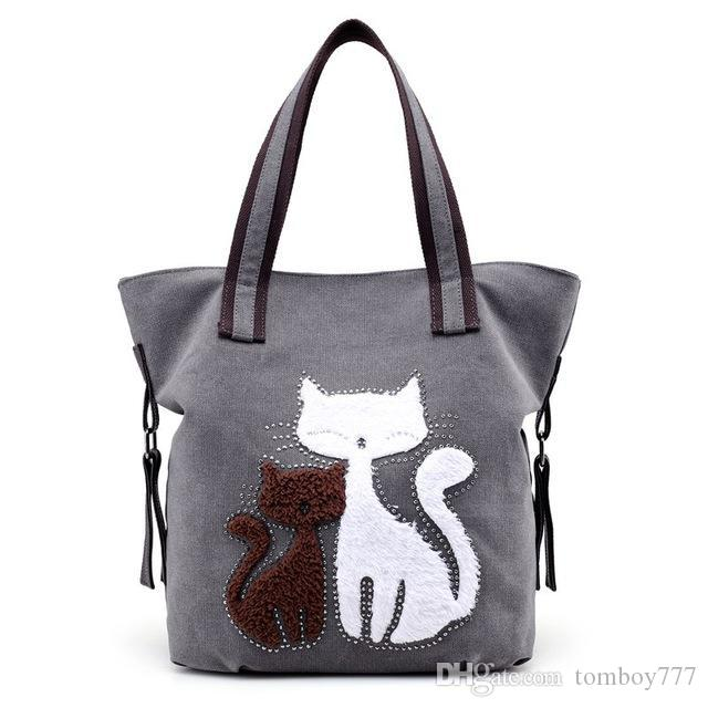New Fashion Cute Cat Women Canvas Handbags Female Causal Tote Bag Designer  Ladies Solid Shoulder Bags Travel Bolsos Mujer Leather Backpack Clutch Bags  From ... ea389a4807045