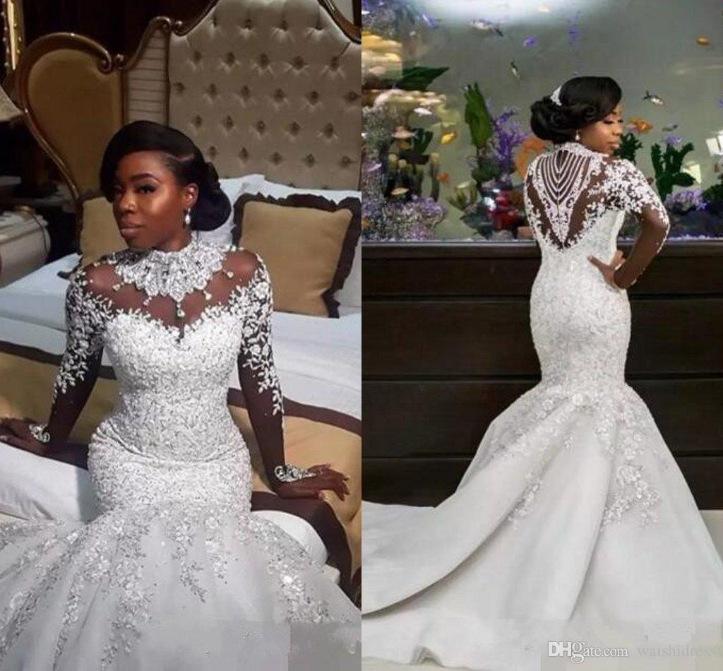 Dhgate Com Wedding Gowns: 2018 Mermaid African Wedding Dresses High Neck Illusion