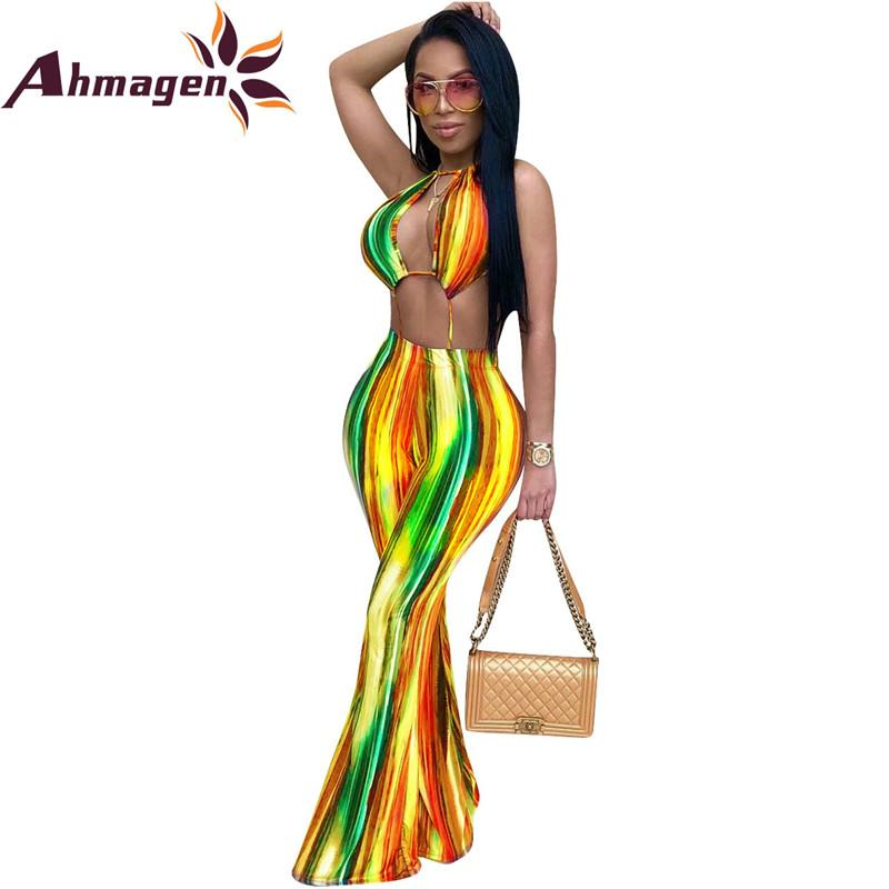 1720f53128 2019 Ahmagen Sexy Rompers Womens Jumpsuit Rainbow Striped Printed Bodycon  Summer Playsuit Backless Wide Leg Pants Overalls Club Wear From Balljoy