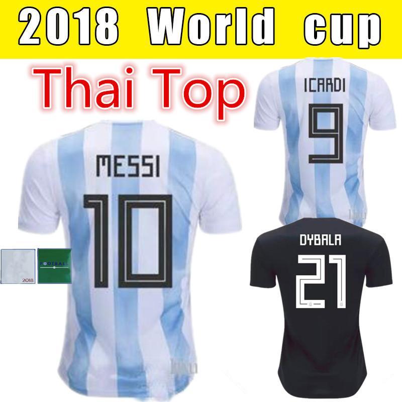 Argentina Soccer Jersey 10 Messi 21 Dybala 11 Aguero 2018 World Cup ... 96c2fdd0f