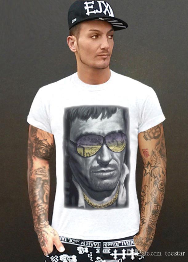 32cd63e5ad1f4 Compre Camiseta Homens Casual T Shirt SCARFACE Italiano Mafia Culto Vintage  Ibiza Tony Montana