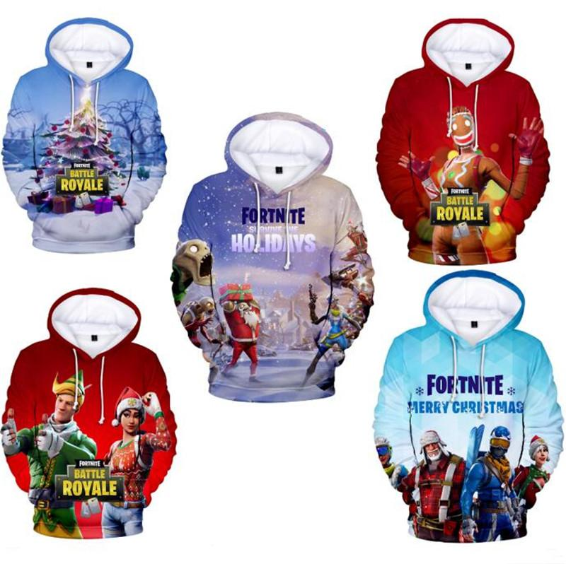 Fortnite Game Weihnachten 3d Hoodies Weihnachtsbaum Schnee Spiel Print Cartoon Pullover Hoodie Männer Frauen Winter Warm Hooded Sweatershirt Pullover