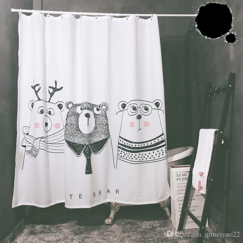 만화 곰 샤워 커튼 북유럽 방수 욕실 샤워 홈 장식 100 % 폴리 에스터 디지털 인쇄 욕실 커튼 커튼