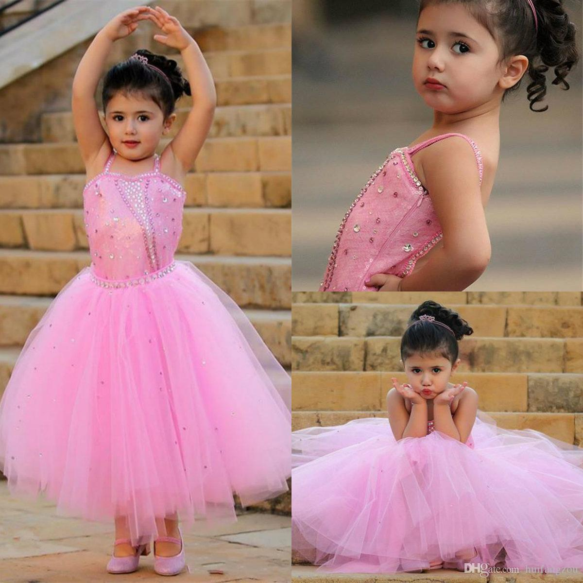 Cute Pink Flower Girl Dresses A Line Spaghetti Straps Shining Crystals  Sequins Tulle Kids Toddler Birthday Communion Girls Pageant Dress Vintage Flower  Girl ... c0733ed9e6e4