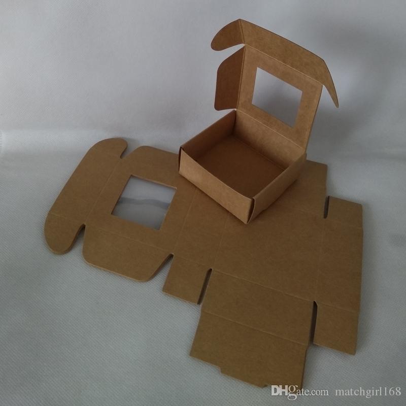75 * 75 * 30mm, 85 * 85 * 35mm bianco scatola di carta pieghevole kraft con finestra in pvc nero craft wedding candy box imballaggio regalo scatole di cartone packa