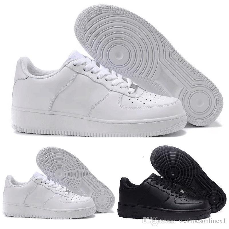 new styles 3a4fe 71e7b Vendita Scarpe Nike Air Force 1 One Flyknit Shoes 2018 Più Nuovi Uomini  Classici Donne Tutto Bianco Nero Basso Alto 1 One Sport Sneakers Cuscino  D aria ...