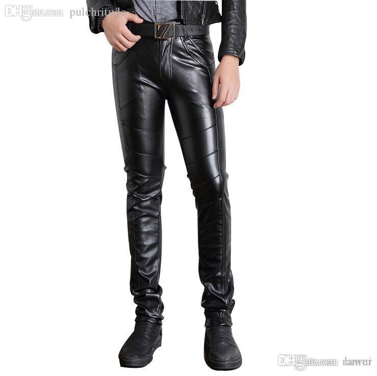 e8a0e394 Wholesale-Mens Black Leather Pants Faux Leather Pu Material Black ...