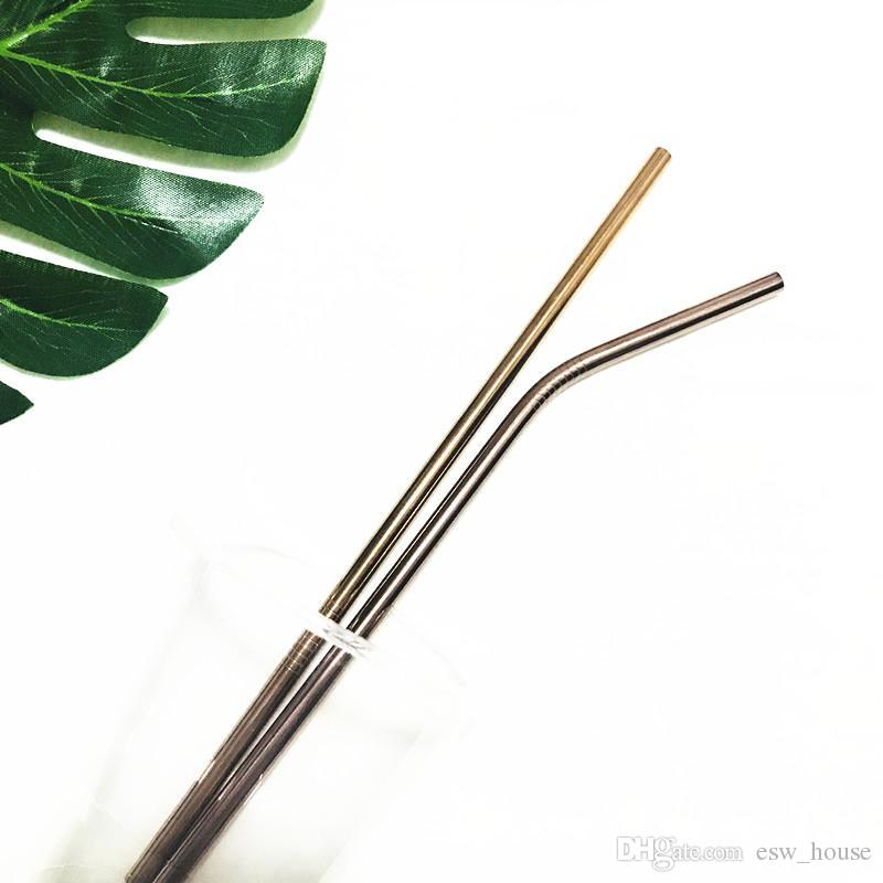 8.5inch 10.5inch Reusable Stainless Steel 304 Bent Straight Drinking Straws for for 900ML Cup Gold Rose Gold Black Rainbow Color