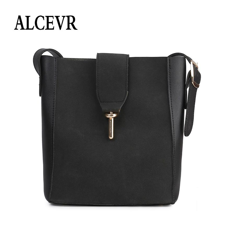 b0fea89f9d ALCEVR Solid Color Pu Leather Women Shoulder Bag All Match Soft Female Hasp  Crossbody Bags Simple Style Lager Capacity Bucket Ladies Handbags Leather  ...