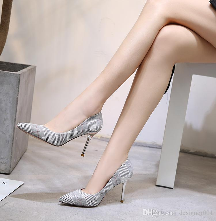 6865191a4d 2018 Vintage Women Shoes High Heels Sexy Pointed Toe 8cm Pumps Come With  Logo dust bags Wedding shoes
