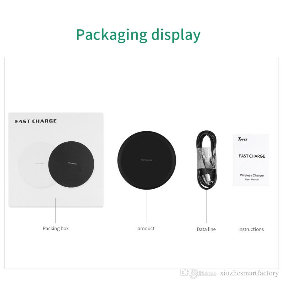 New ultra thin wireless block filled QI circular launcher aluminum alloy K2 wireless charger iphone8 fast charging 9V