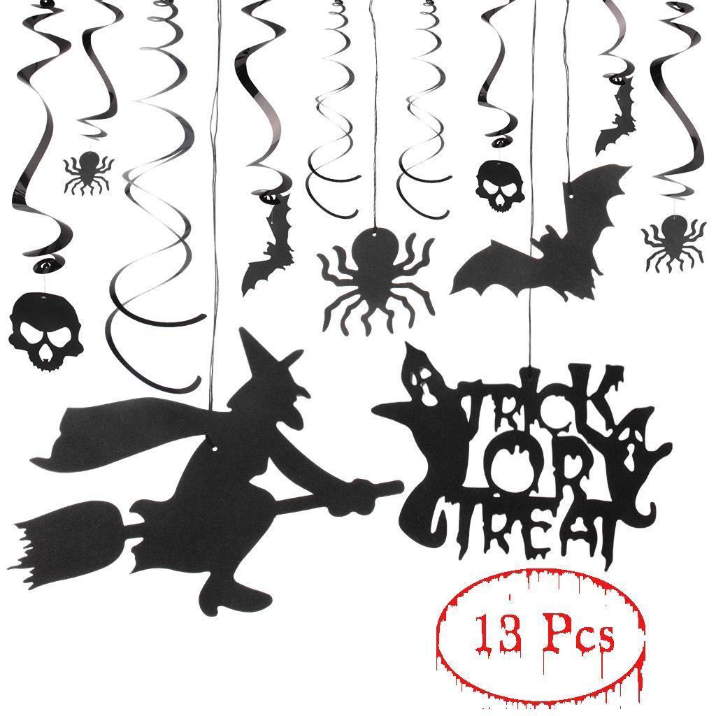 2018 halloween spiral ornaments black glitter ghost spider bat witch