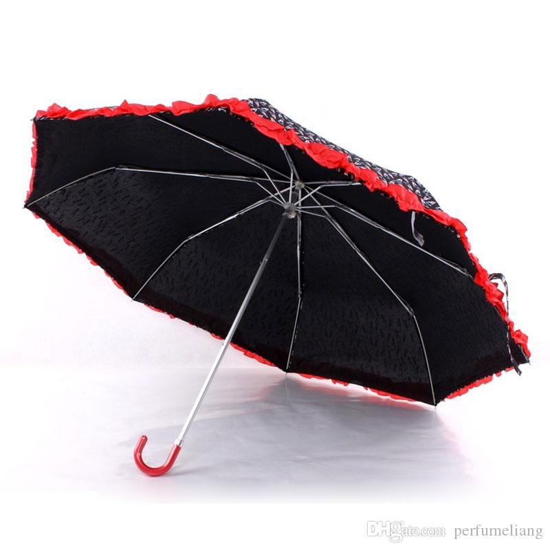 Classical Black White Stripe Umbrella Rain Sun Women Parasol Female Sunshade Lady Three Folding Manual Umbrellas ZA6448