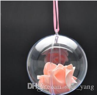 80mm Transparent Clear Plastic Opening Gift Candy Box Fillable Ball Baubles Decor Wedding Christmas Tree Decoration Party Supplies lin4439