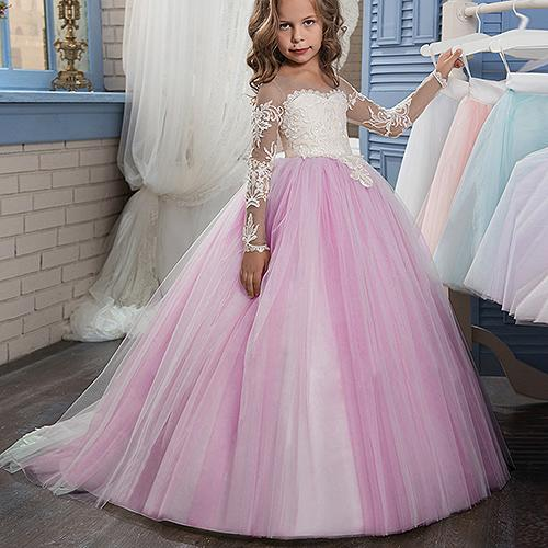Pageant Cute Long Sleeve Princess Ball Gown Lace Flower Girl Dresses For  Wedding Lolita Floor Length Kids Party Birthday Dress Mother Of The Groom  Dresses ... 2ae725946f54