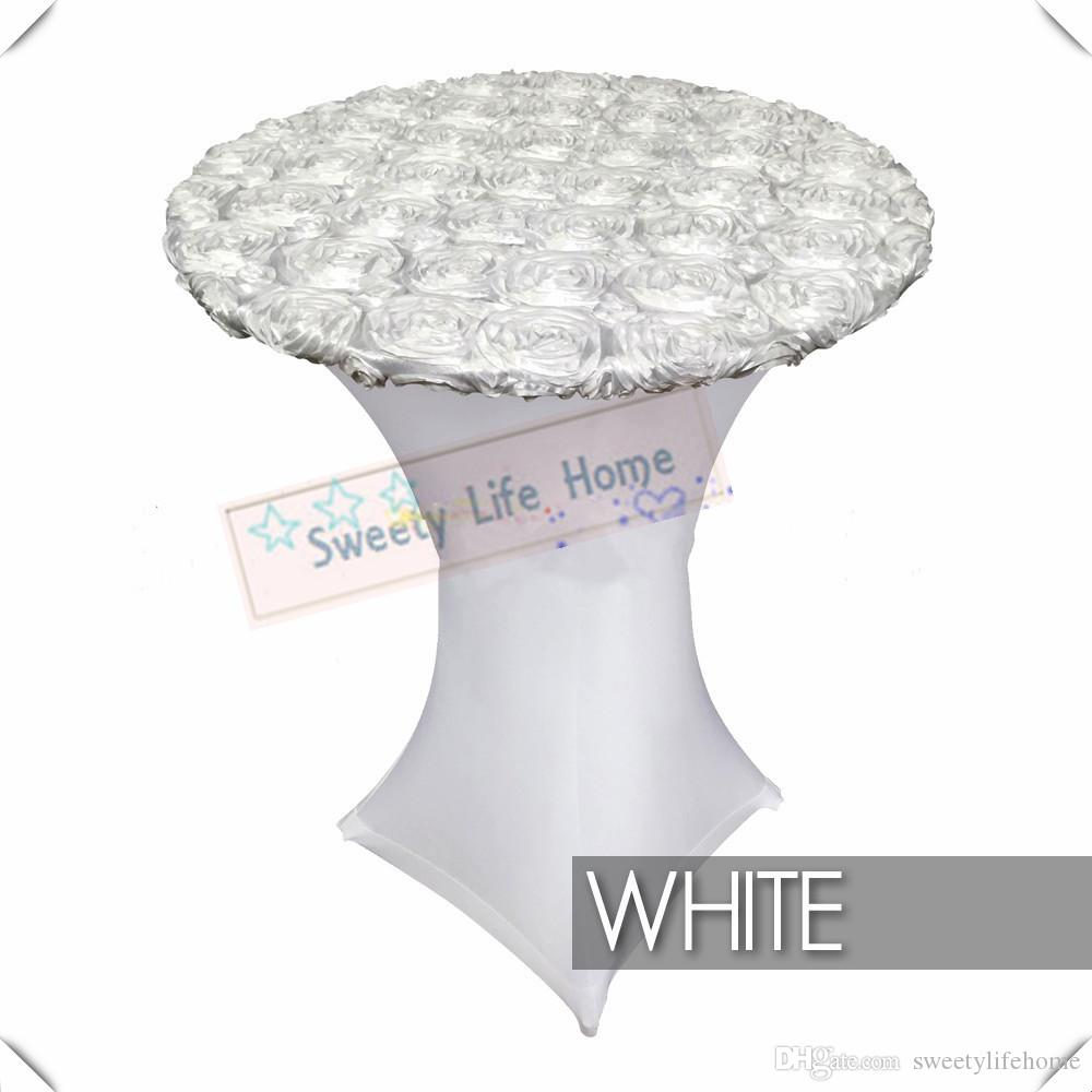 Nice Pure White Spandex With White Satin Rosette Table Cover Lycra Cocktail Table Cover Polyester Table Cloths 10pcs 80cm 110cm