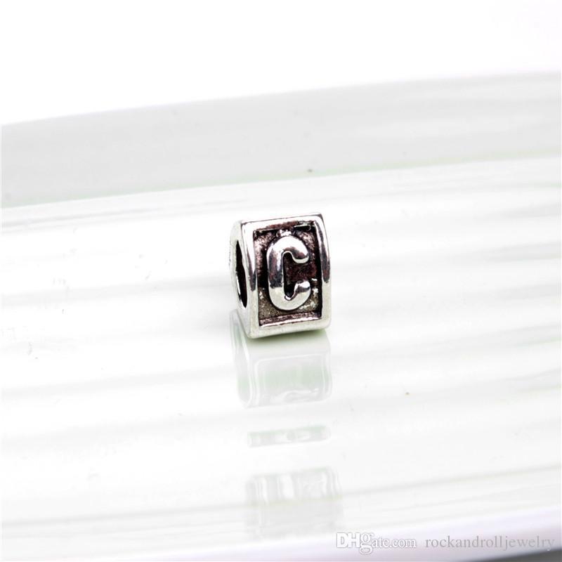 26 Carta Do Alfabeto Liga Charme Para Pandora Pulseira Cobra Cadeia Ou Colar de Moda Jóias Solto Talão Nova Chegada