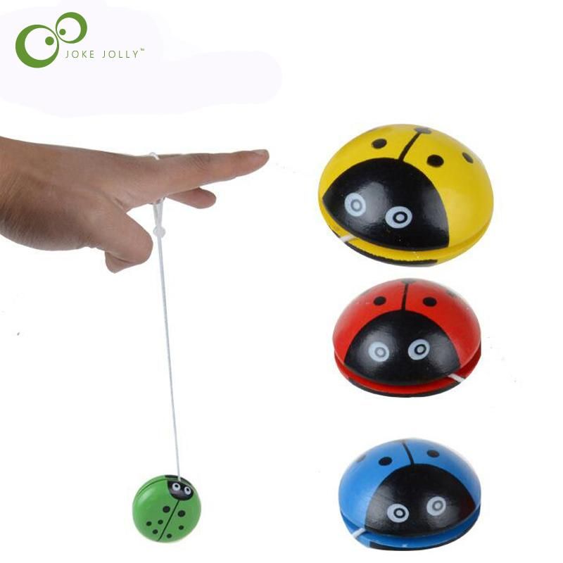 1 PC Creative TOY Wooden Children Yoyo Toys Hand Painting Lovely Ladybug Yoyo For Kids COLORFUL toy WYQ